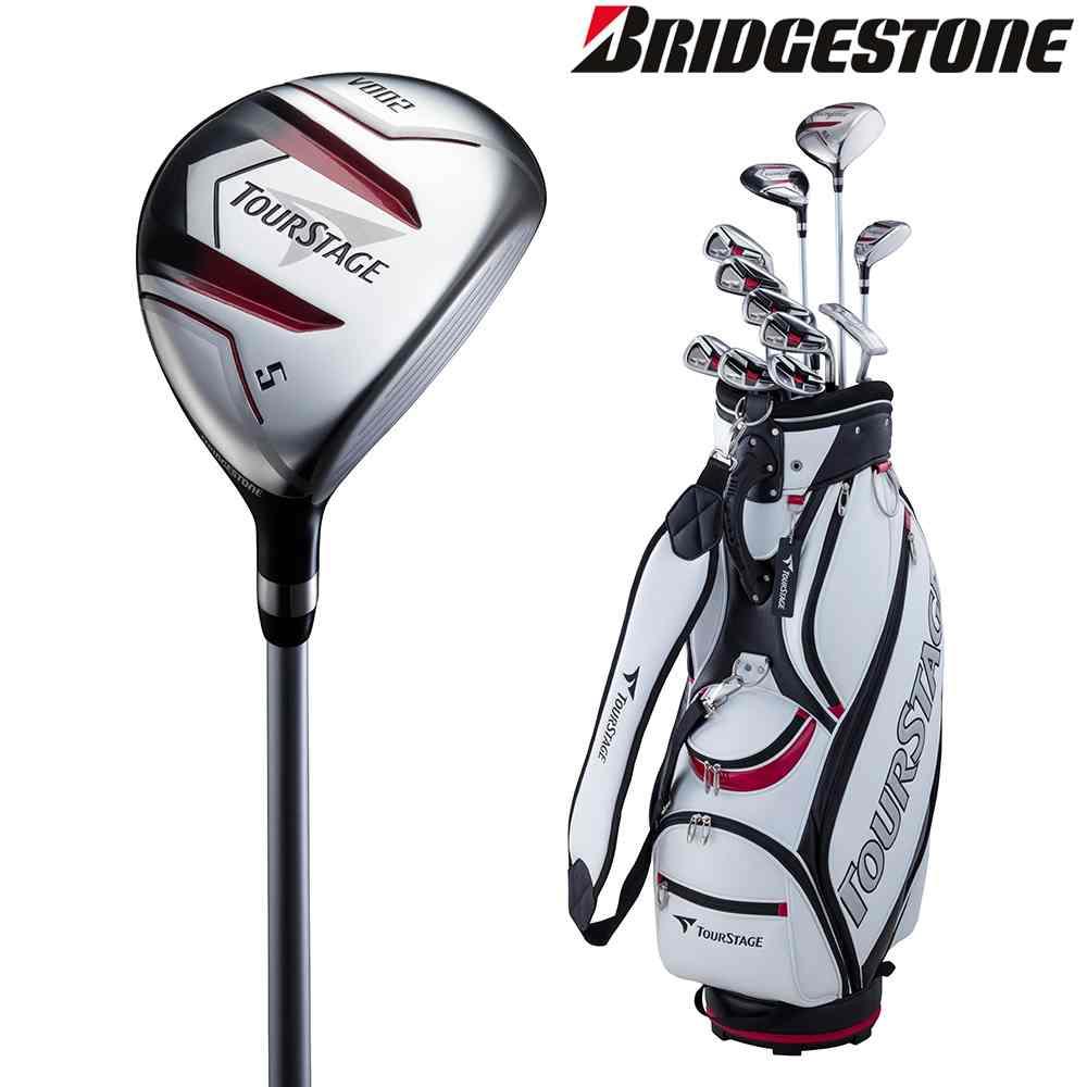 ブリヂストン BRIDGESTONE ゴルフセット商品 ユニセックス TOURSTAGE V002 キャディバッグ付11本セット(スチール:Sセット) V2GSKCS
