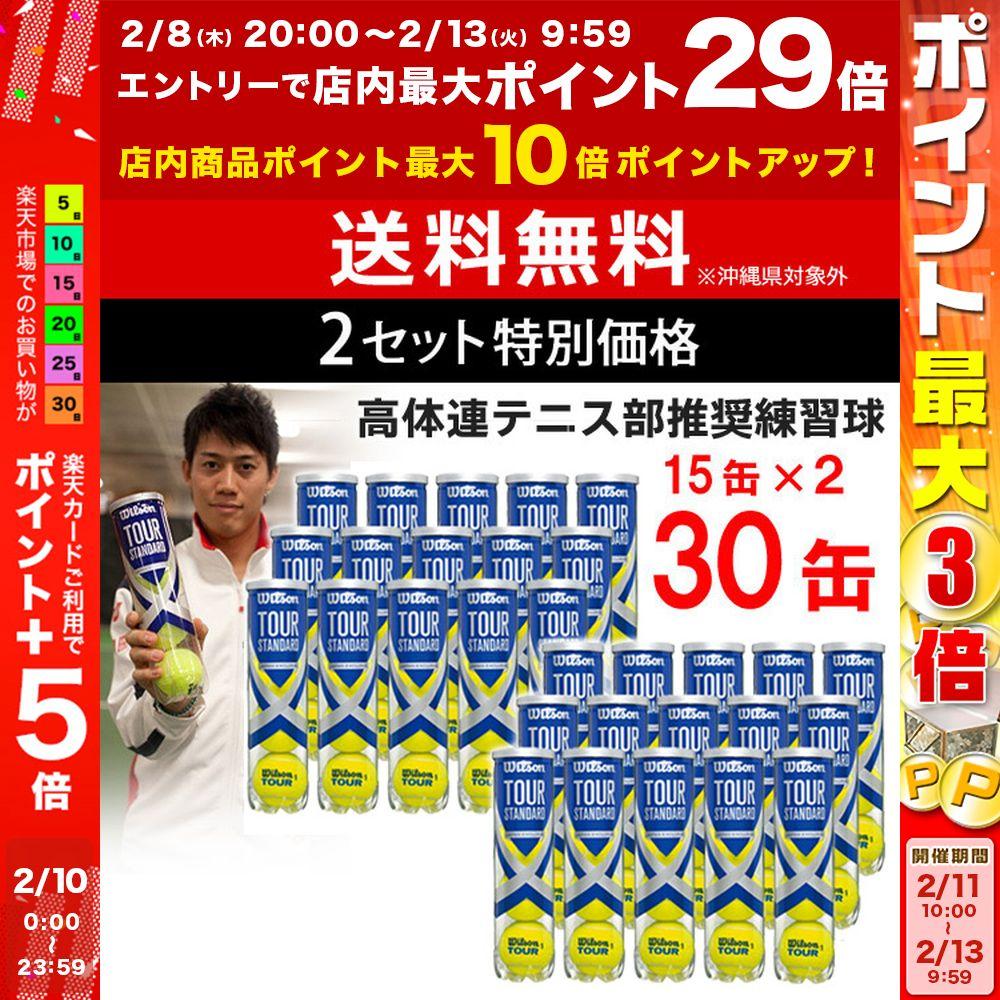 ※団体様限定特別価格 【2箱セット】Wilson(ウイルソン)【TOUR STANDARD(ツアー・スタンダード) (15缶×2=120球) WRT103800】テニスボール
