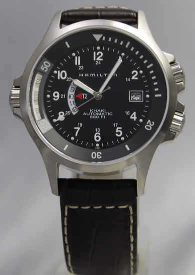 Hamilton Khaki Navy GMT BK / leather H77615833