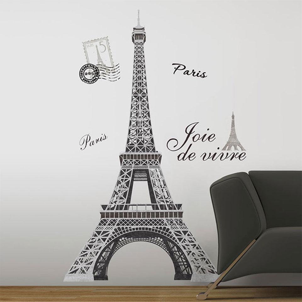 楽天市場 ウォールステッカー エッフェル塔 モノクロ Paris エッフェルタワー ルームメイツ Roommates 半透明 かわいい きれい 北欧 シンプル アルファベット シール のり付き 壁紙シール キッチン リビング Eiffel Tower Giant ケイ ララ 楽天市場店