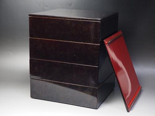antique 重箱 貝器骨董 【中古】JAPAN 0669 四段重箱漆器 アンティーク tableware vintage