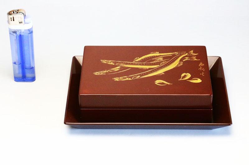 0259 初代為郎・鰻紋様の小箱 アンティーク漆器(骨董品)【中古】