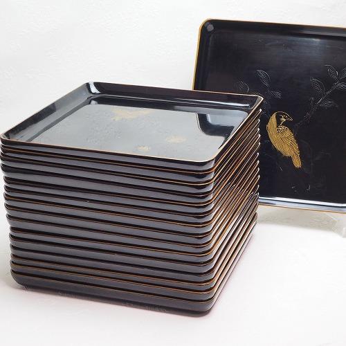 折敷16枚組 16文様 沈金 漆器 0784トレイ 茶道 煎茶道 茶道具 コースター 骨董品 アンティーク 【中古】JAPAN japanese antique vintage tableware lacquerware tray