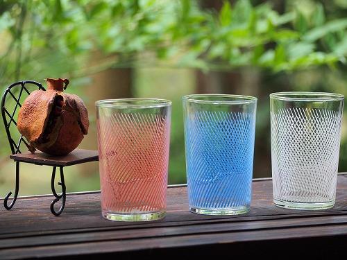 0158 カラフルでポップな網目紋様のグラス 3個組昭和 ガラス 雑貨 コップ ビンテージ 賜物 中古 アンティーク 直営限定アウトレット 古民具 古民家