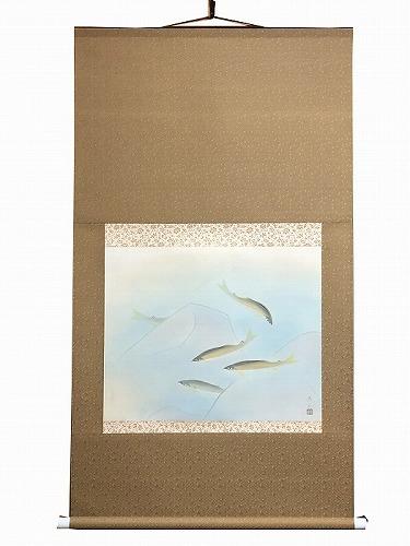【中古】 掛軸 画家 鮎 0277日本画 紙もの 古民家 長井亮之 掛軸 あゆ 額骨董 油彩画