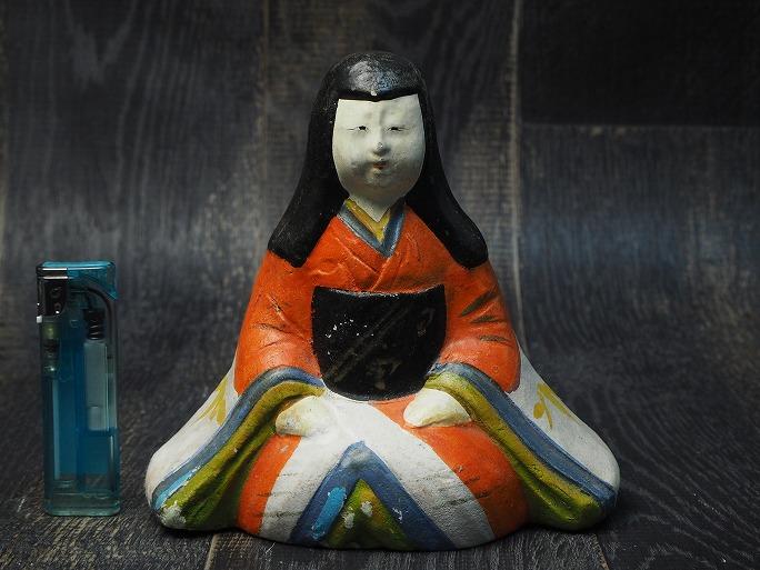 0167 座り童女の土人形明治 売却 中古 現金特価 日本玩具 土人形 アンティーク