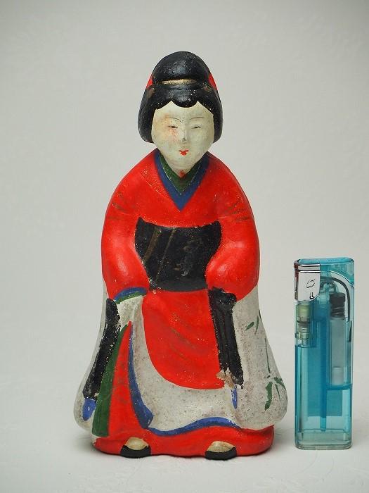 0179 立ち娘の土人形B ブランド品 大浜人形日本玩具 アンティーク 土人形 古民具 飾り人形 クリアランスsale 期間限定 古民家 中古 古道具