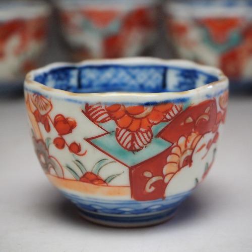 0239 梅笹文様猪口染錦 手描き 明治瀬戸物 陶磁器 食器 小鉢 中古 骨董 アンティーク tableware vintage 2020モデル antique ファクトリーアウトレット porcelain JAPAN china japanese 1個単位の販売です