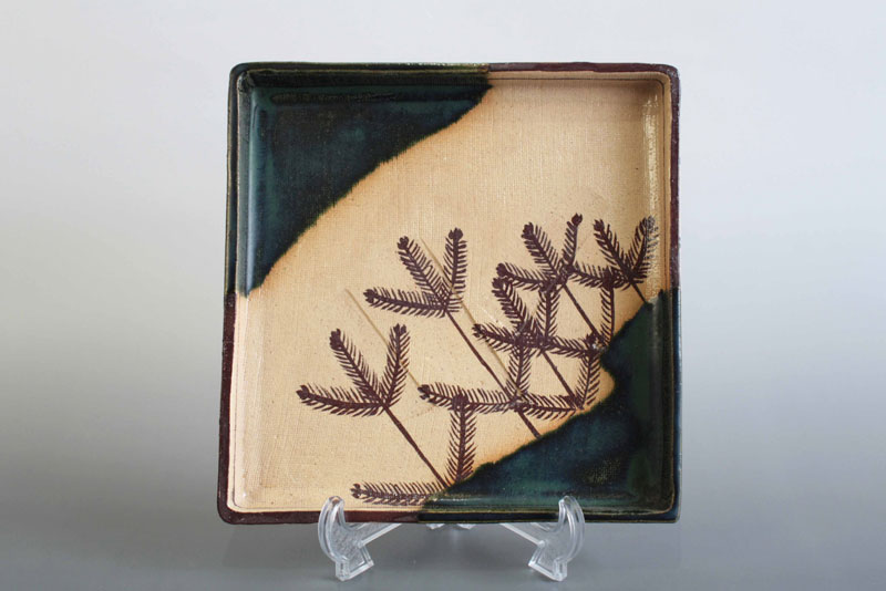 ■骨董☆アンティーク0072ススキ紋様正方形八寸皿織部・【中古】