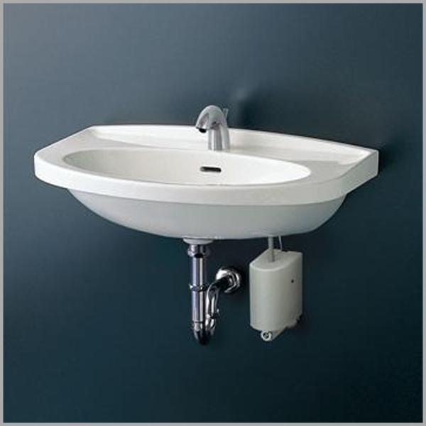 【TOTO】壁掛洗面器(大形) Sトラップセット 混合栓 L260C TLHG31EF シングルレバー エコシングル ワンプッシュ式 120mm 床排水 取付金具セット 693X500 容量8.5L