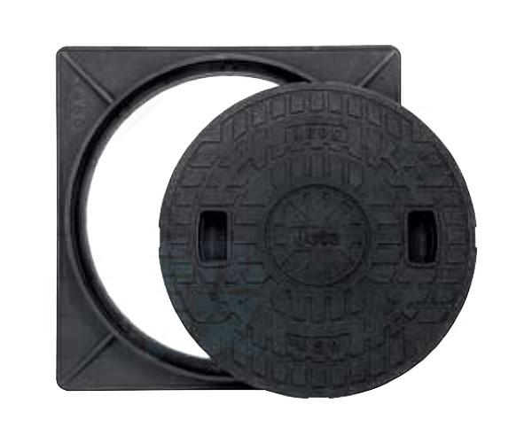 【JOTO】城東テクノ 耐圧マンホールカバー枠セット[T-2]450型 JT2-450A-2(ロックなし)単品 角枠セット ブラック 安全荷重4.9kN 耐荷重19.6kN 送料無料