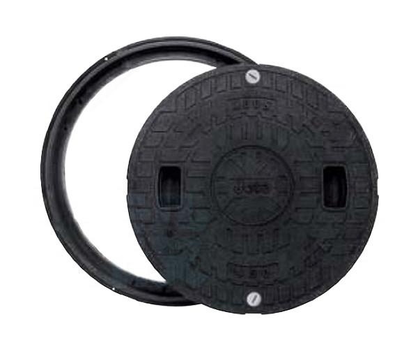 【JOTO】城東テクノ 耐圧マンホールカバー枠セット[T-2]600型 JT2-600B-1(ロック付き)単品 丸枠セット ブラック 安全荷重4.9kN 耐荷重19.6kN 送料無料