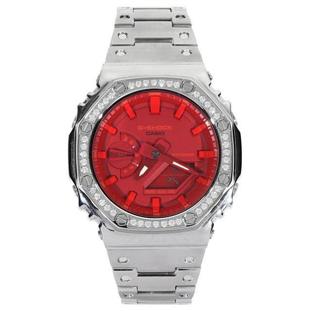 G-SHOCK GA2100 カスタム メタルパーツ ※時計は含まれません カシオーク CZダイヤベゼル(キュービックジルコニア)シルバー 金属アフターパーツ Gショック 着せ替え おしゃれ
