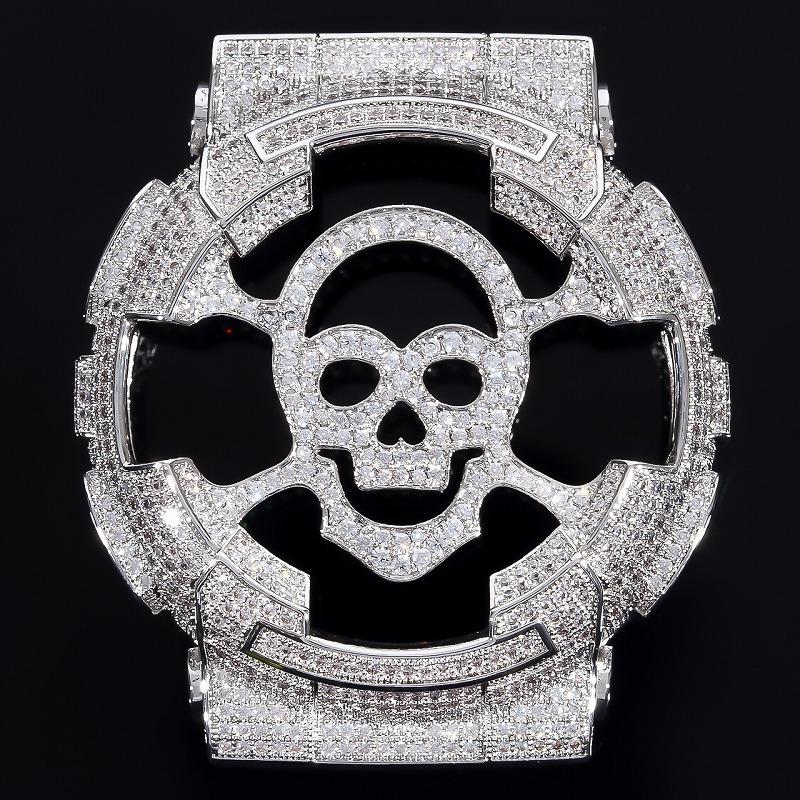 SKULL CZダイヤ(キュービック・ジルコニア) ベゼル G-SHOCK GA100 GD100 シルバースカル