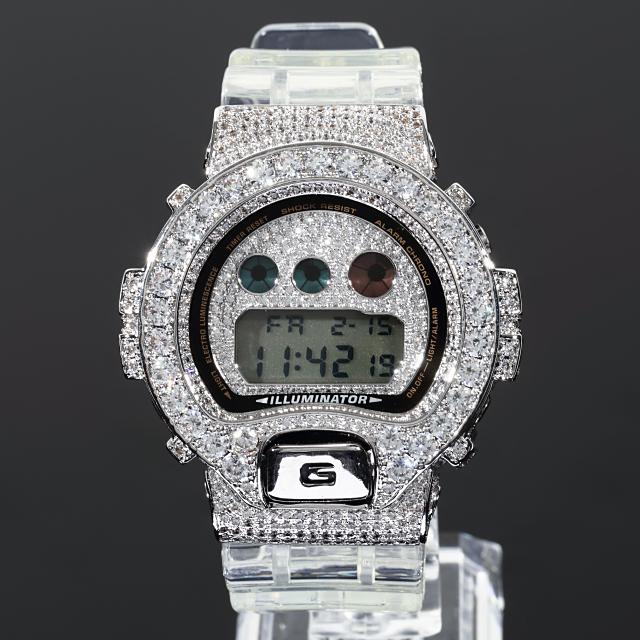 カスタム時計G-CUSTOM幅22mm極太ベルトフルカスタム仕様CZダイヤ(キュービックジルコニア)ホワイトゴールド