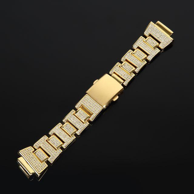 Gショック G-SHOCK DW6900 GA100 GD100 専用 CZダイヤ(キュービック・ジルコニア)カスタムベルト 14K GOLD