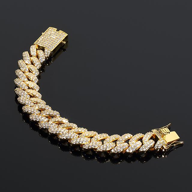 超極太 【幅18mm】マイアミキューバンブレスレット GOLD フルダイヤカスタム 18K ゴールド
