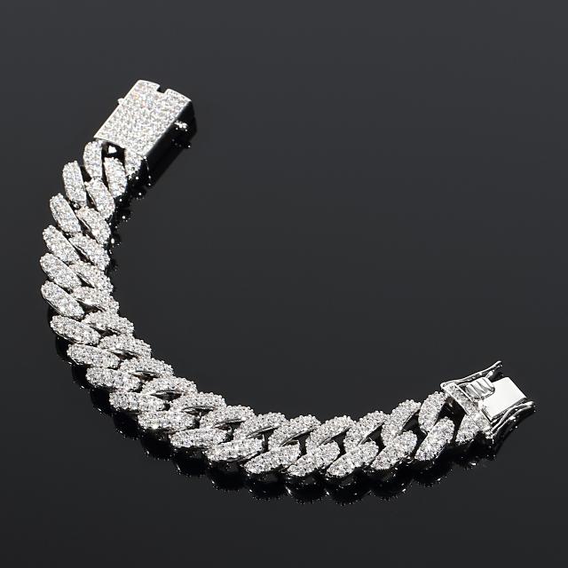 超極太 【幅18mm】マイアミキューバンブレスレット フルダイヤカスタム 18K ホワイトゴールド