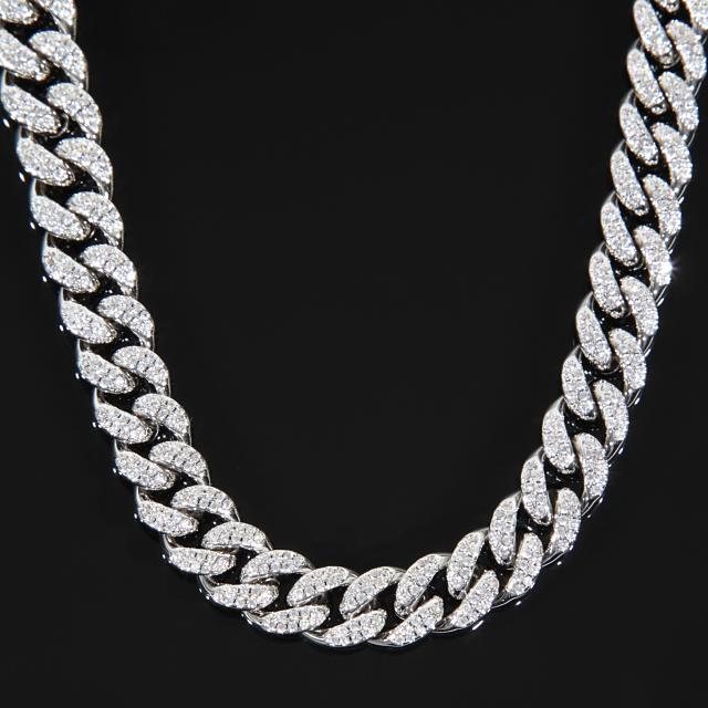 10mm x 45cm マイアミキューバンチェーン ネックレス 18Kホワイトゴールド CZダイヤ(キュービックジルコニア)