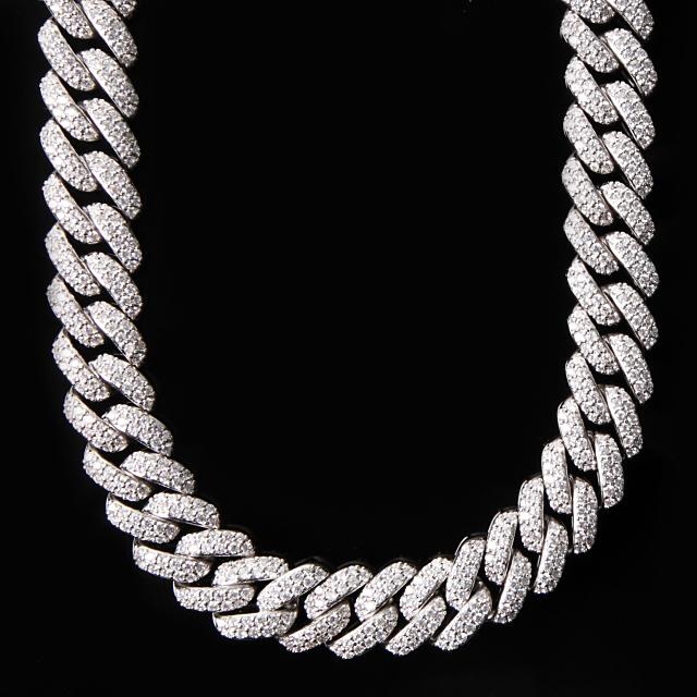 【超極太】【幅18mm x45cm】マイアミキューバンチェーン フルダイヤ MIAMI CUBAN CHAIN 18K WHITE GOLD