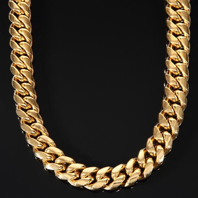 【超極太】【幅18mm】75cm マイアミキューバンネックレス 18K GOLD CZダイヤ カスタムバックル Cuban Link Chain