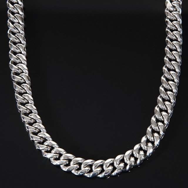 【幅14mm x 75cm】マイアミキューバンネックレス ホワイトゴールド CZダイヤ カスタムバックル Cuban Link Chain