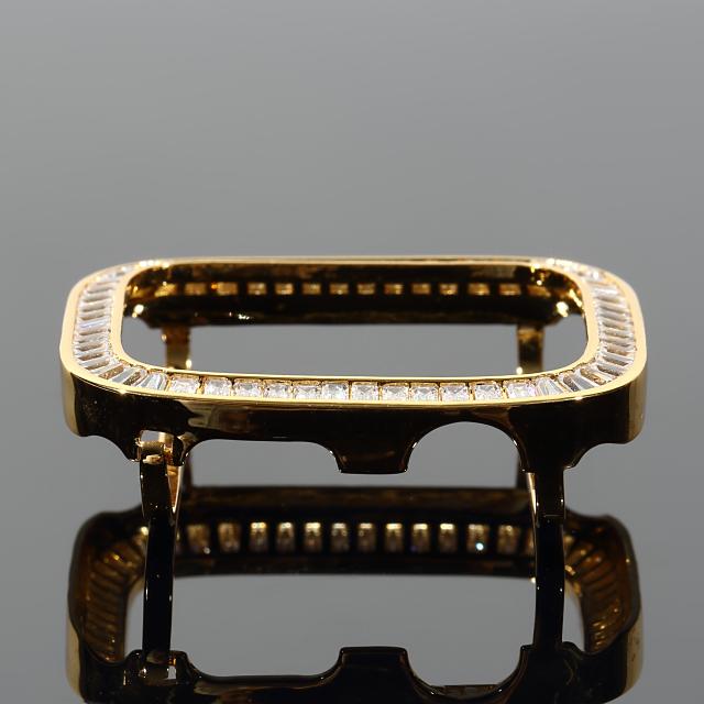 アップルウォッチシリーズ4最新モデルAppleWatchカスタムベゼル大粒CZダイヤベゼルおしゃれカバー44mm専用ホワイトゴールドゴールド