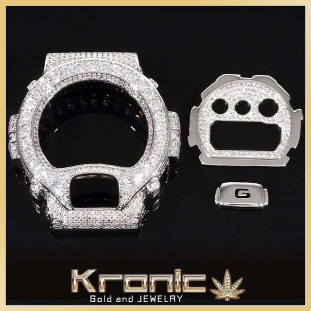 Gショック DW6900専用 カスタムパーツセット(ベゼル、ダイヤル、ボタン)CZダイヤ WHITE GOLD 腕時計 カシオ