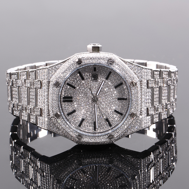 ラグジュアリー 時計 全面フルCZダイヤ メンズ BLING CZ Diamond Watch 12ct セレブ腕時計 18K WHITEGOLD 自動巻き