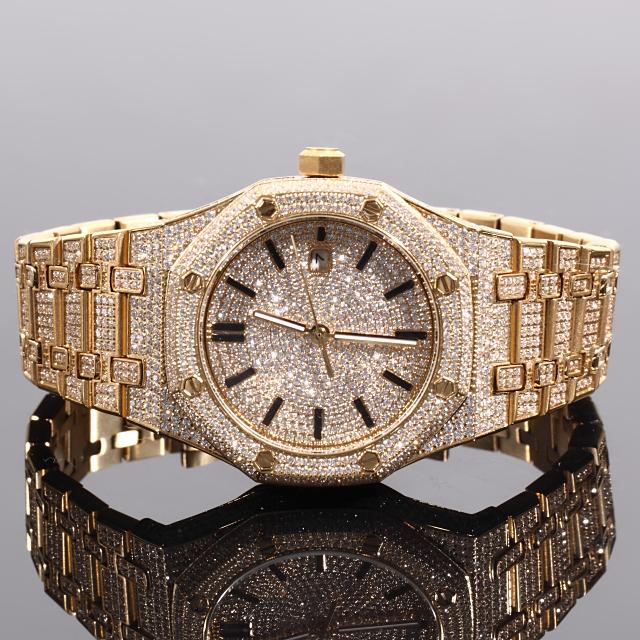 ジュエリーウォッチ ラグジュアリー 腕時計 全面フルCZダイヤ メンズ BLING CZ Diamond Watch 12ct セレブ腕時計 18K GOLD 自動巻き