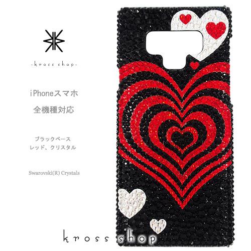 【全機種対応】iPhoneXS Max iPhoneXR iPhone8 iPhone7 PLUS Galaxy S9 + XPERIA XZ3 XZ2 iPhone XS ケース iPhone XR ケース スマホケース スワロフスキー デコ キラキラ デコケース デコカバー デコ電 かわいい -ハートマーブル、レッド(ブラックベース)-