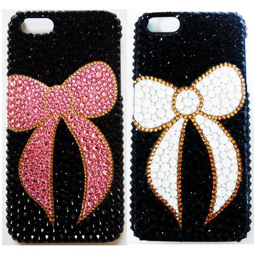 【全機種対応】iPhoneXS Max iPhoneXR iPhone8 iPhone7 PLUS Galaxy S9 + XPERIA XZ3 XZ2 iPhone XS ケース iPhone XR ケース スマホケース スワロフスキー デコ キラキラ デコケース デコカバー デコ電 かわいい -リボンモチーフ(ブラックベース)-