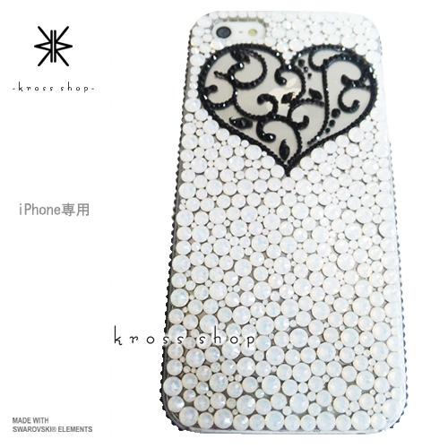 iPhoneX iPhone8 PLUS iPhone7ケース iPhone7 PLUS iPhone6s PLUS iPhoneSE iPhoneXケース iPhone8ケース スワロフスキー デコ ケース カバー キラキラ デコ電 ブランド 大人 かわいい -アンティークハート(ハート&サイド、ブラック)-