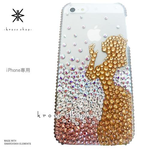 iPhoneX iPhone8 PLUS iPhone7ケース iPhone7 PLUS iPhone6s PLUS iPhoneSE iPhoneXケース iPhone8ケース スワロフスキー デコ ケース カバー キラキラ デコ電 ブランド -プリンセス 白雪姫 シルエット&リンゴ(ピンクゴールドグラデーション)-