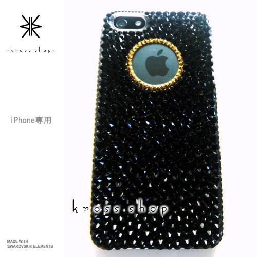 iPhoneX iPhone8 PLUS iPhone7ケース iPhone7 PLUS iPhone6s PLUS iPhoneSE iPhoneXケース iPhone8ケース スワロフスキー デコ ケース カバー キラキラ デコ電 ブランド -ブラック系ランダム(サイド、円、24金ゴールド)-