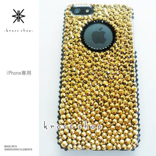 iPhoneX iPhone8 PLUS iPhone7ケース iPhone7 PLUS iPhone6s PLUS iPhoneSE iPhoneXケース iPhone8ケース スワロフスキー デコ ケース カバー キラキラ デコ電 ブランド -24金ゴールド(サイド、円、ブラック)-