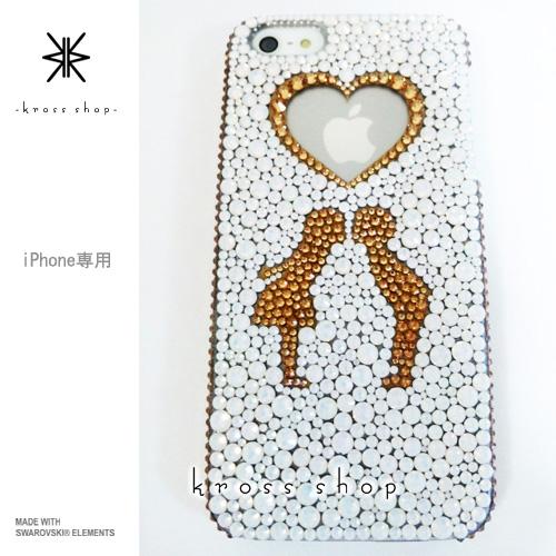 iPhoneX iPhone8 PLUS iPhone7ケース iPhone7 PLUS iPhone6s PLUS iPhoneSE iPhoneXケース iPhone8ケース スワロフスキー デコ ケース カバー キラキラ デコ電 ブランド 大人 かわいい -子供たちのシルエット(ホワイトベース、ゴールド)-