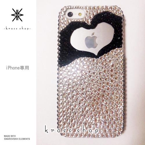 iPhoneX iPhone8 PLUS iPhone7ケース iPhone7 PLUS iPhone6s PLUS iPhoneSE iPhoneXケース iPhone8ケース スワロフスキー デコ ケース カバー キラキラ デコ電 ブランド 高級 スワロ -ハート ハンド シルエット-