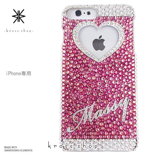 iPhoneX iPhone8 PLUS iPhone7ケース iPhone7 PLUS iPhone6s PLUS iPhoneSE iPhoneXケース iPhone8ケース スワロフスキー デコ ケース カバー キラキラ デコ電 名入れ 名前入り ブランド 大人 かわいい -ピンクベースのネーム入れ(クリスタル)-