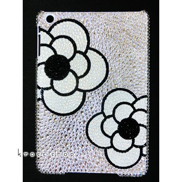iPad Air2 スワロフスキー ケース カバー アイパッドエアー2 デコ スワロ デコケース デコカバー キラキラ ラインストーン かわいい 大人 -クリスタルベースのカメリア柄-