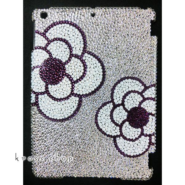 iPad Air2 スワロフスキー ケース カバー アイパッドエアー2 デコ スワロ デコケース デコカバー キラキラ ラインストーン かわいい 大人 -クリスタルベースのカメリア柄(パープルライン)-