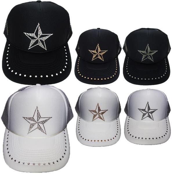 スワロフスキー キャップ スワロ 帽子デコ デコキャップ ラインストーン 星 スター NO2