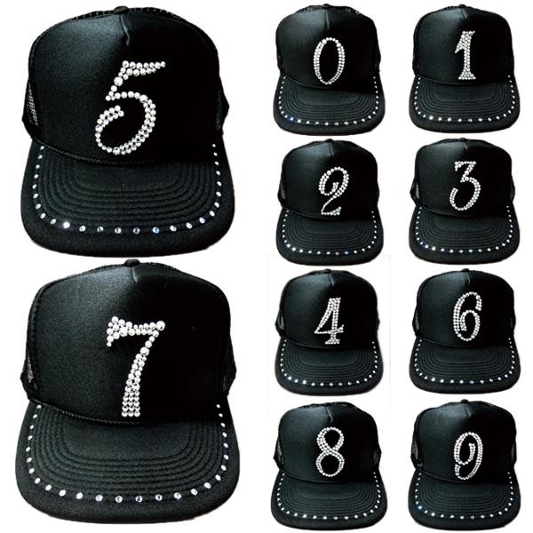 スワロフスキー キャップ スワロ 帽子 数字 ナンバー デコ デコキャップ ラインストーン -ブラック&クリスタル-