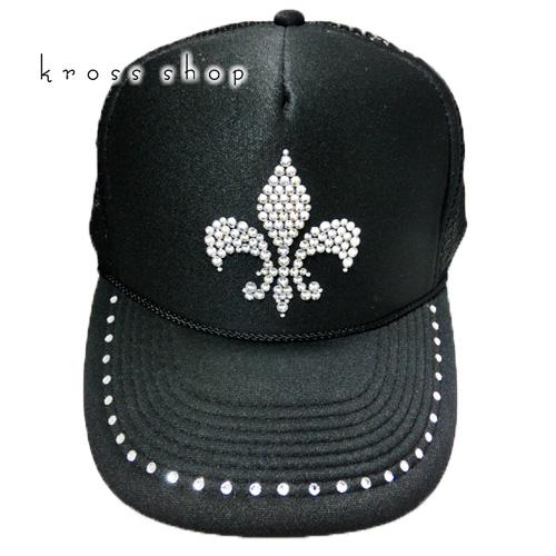 スワロフスキー キャップ スワロ 帽子デコ デコキャップ ラインストーン -百合の紋章-