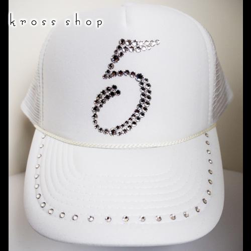 スワロフスキー キャップ スワロ 帽子 数字 ナンバー デコ デコキャップ ラインストーン -ホワイト&クリスタル-