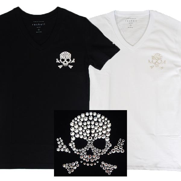 【2カラー】Tシャツ 半袖 メンズ Men's ティーシャツ スカル Vネック 即日発送 スワロフスキー キラキラ ラインストーン スタイリッシュ キレイめ Vネック おしゃれ プレゼント ラッピング