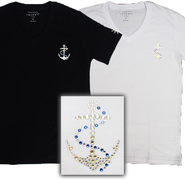 【2カラー】Tシャツ 半袖 メンズ Men's ティーシャツ アンカー マリン Vネック 即日発送 スワロフスキー キラキラ ラインストーン スタイリッシュ キレイめ Vネック おしゃれ プレゼント ラッピング