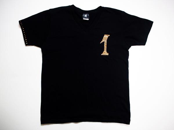 【0~9選択可能】ロンTも可能!メンズ Tシャツ スワロフスキー ビザン 数字 ナンバー -ゴールド-