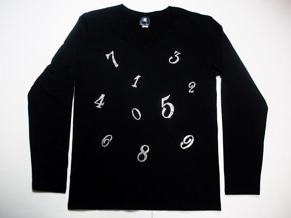 【マルチナンバー2】メンズ ロングTシャツ スワロフスキー ビザン 数字 ナンバー ロンT -クリスタル-