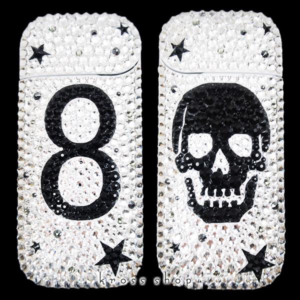 【IQOS本体キット込み】アイコス iQOS 2.4 PLUS 本体 電子タバコ 本体 ホワイト カスタム デコ スワロフスキー キラキラ スカル 星柄 数字 ナンバー デザイン デコレーション ケースやカバーではなく本体にデコ
